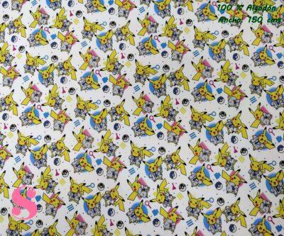 tejidos-estampados-de-algodón,-telas-frikis,telas-estampadas-de-moda,Tejido Estampado Pokémon