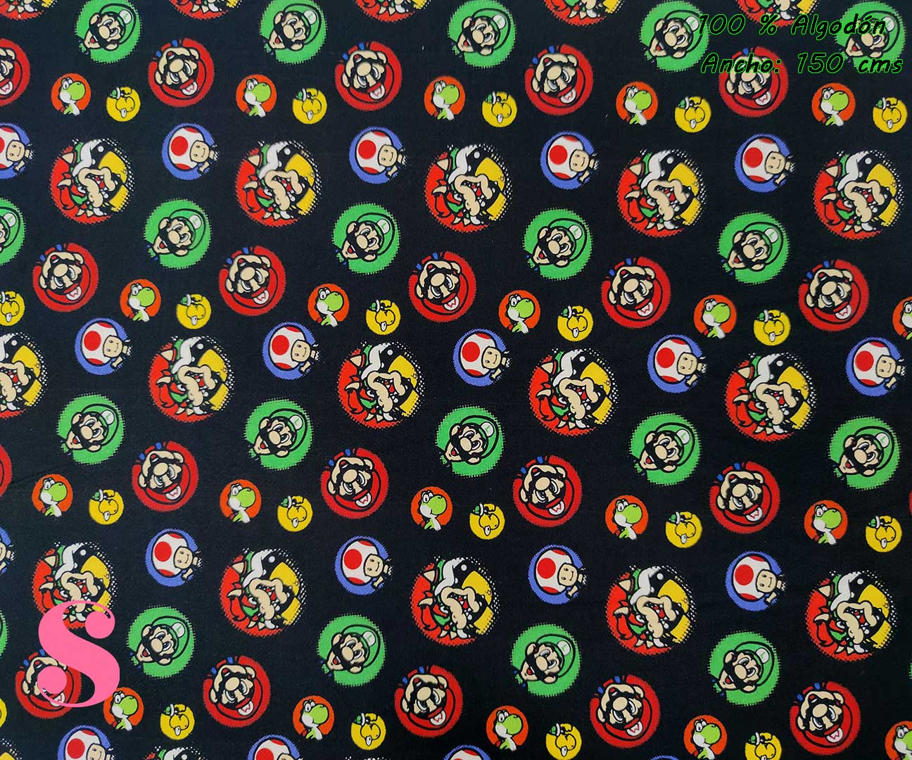 tejidos-estampados-de-algodón,-telas-frikis,telas-estampadas-de-moda,Tejido Estampado Super Mario & Luigi and friends