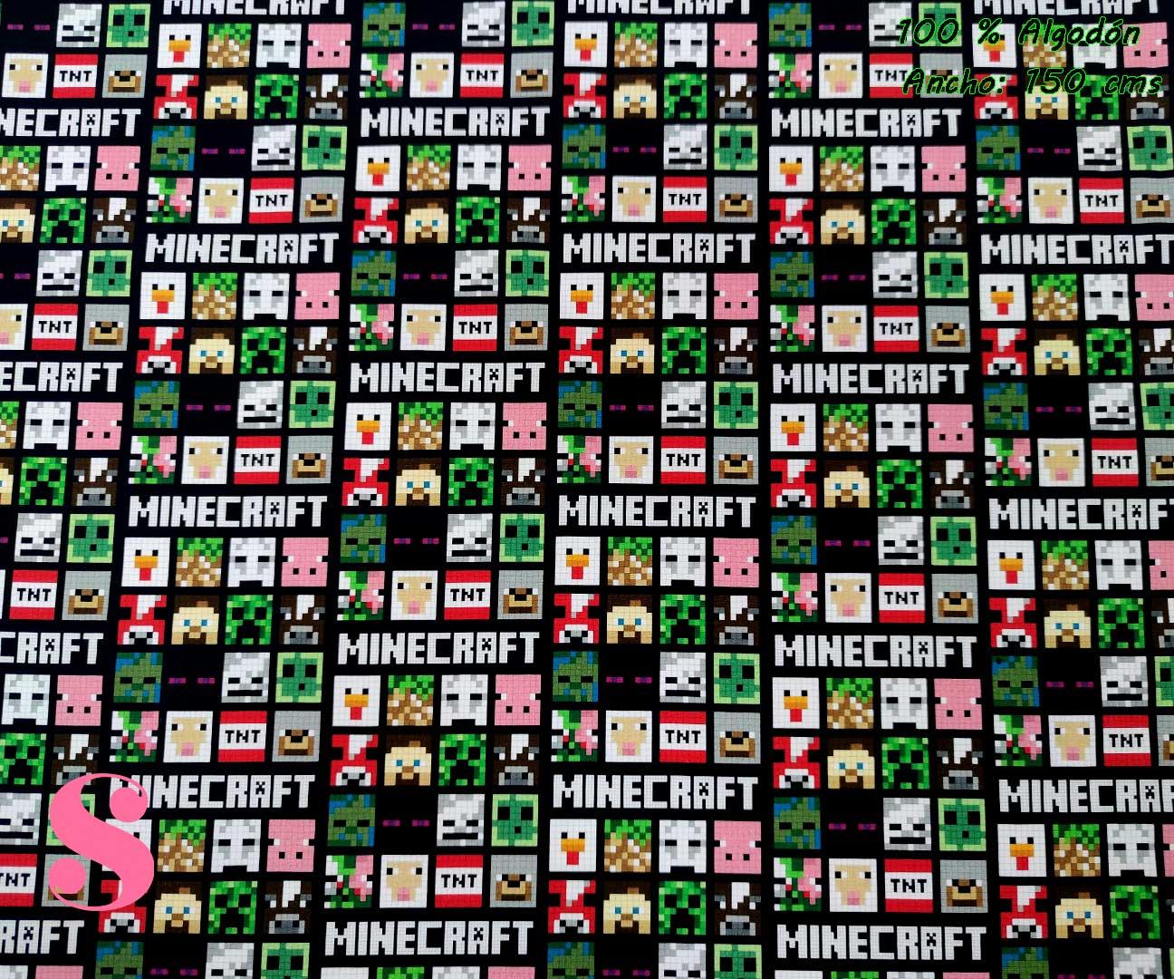 tejidos-estampados-de-algodón,-telas-frikis,telas-estampadas-de-moda,Tejido Estampado Minecraft