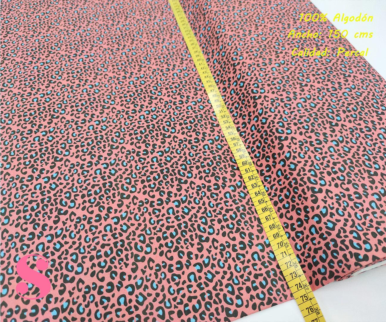 626-manchas-azul-animal-print-leopardo-tejidos-algodón-estampado-percal,Tejido Estampado Animal Print Rosa Mancha Azul,Leopardo multicolor