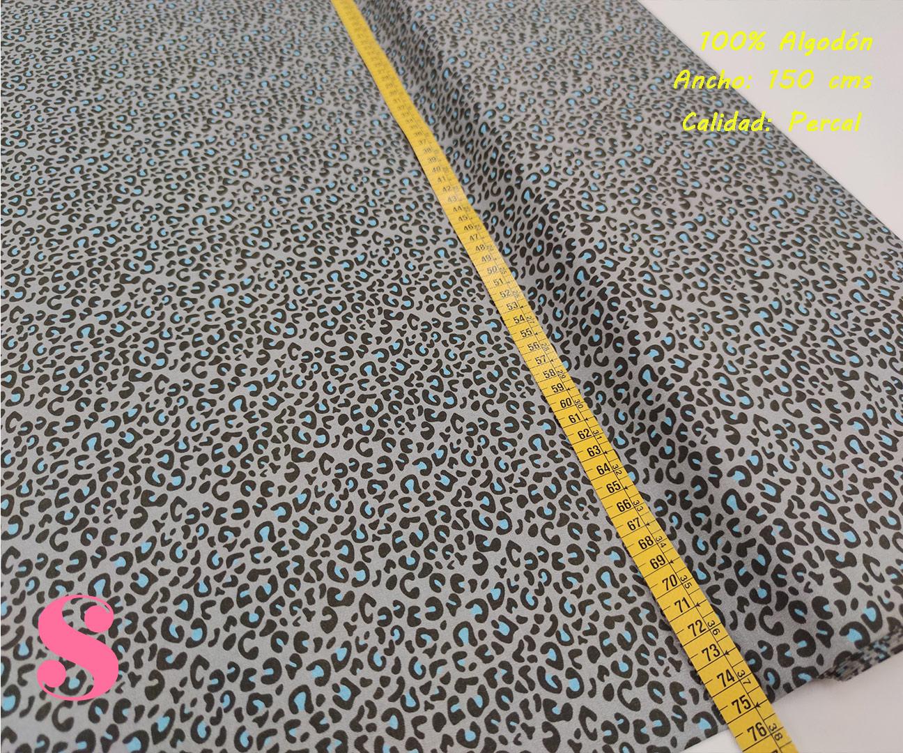 629-manchas-azul-fondo-gris-animal-print-leopardo-tejidos-algodón-estampado-percal,Tejido Estampado Animal Print Gris Mancha Azul,leopardo de colores