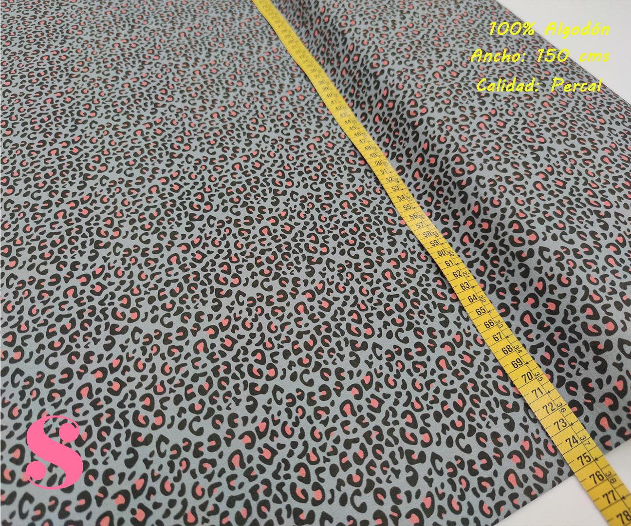630-manchas-fucsia-fondo-gris-animal-print-leopardo-tejidos-algodón-estampado-percal,Tejido Estampado Animal Print Gris Mancha Rosa,leopardo multicolor,estampado leopardo de colores