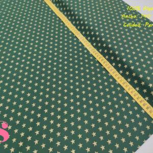 634 Tejido Estampado Estrellas Doradas fondo Verde