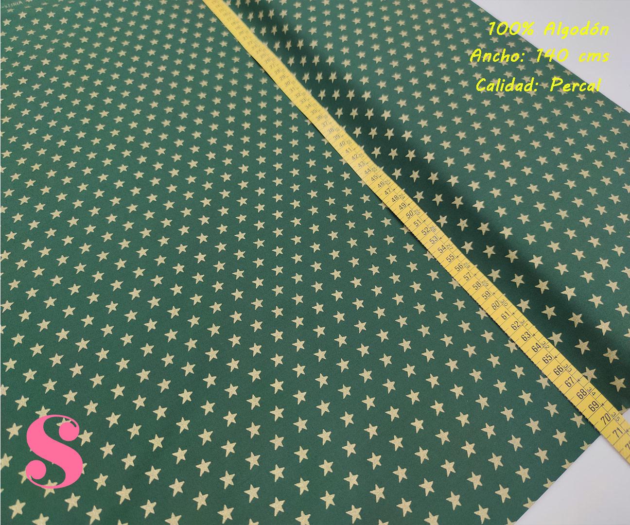 634-estrellas-doradas-fondo-verde-tejidos-algodón-estampado-percal,Tejido Estampado Estrellas Doradas fondo Verde,telas estampadas de navidad