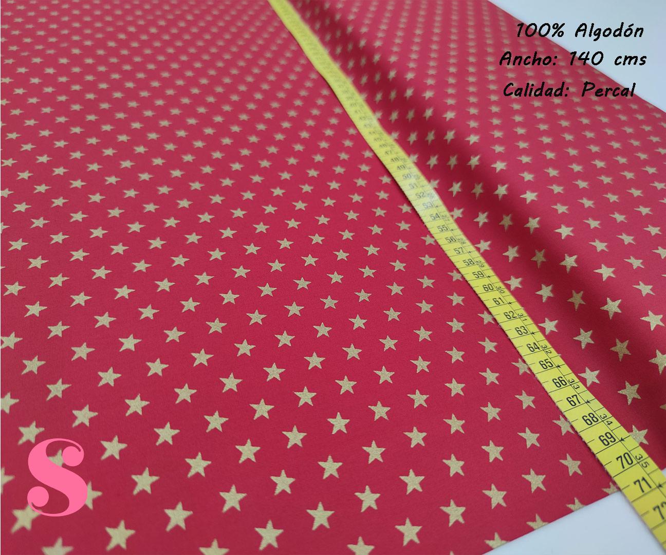636-estrellas-doradas-fondo-rojo-tejidos-algodón-estampado-percal,telas estampadas de navidad,Tejido Estampado Estrellas Doradas fondo Rojo