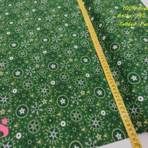 639 Tejido Estampado Navidad Copo de Nieve fondo Verde