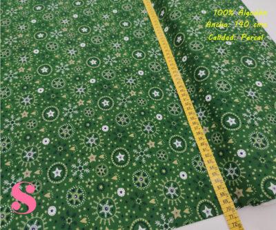 639-circulos-copos-navidad-fondo-verde-tejidos-algodón-estampado-percal,telas de navidad,Tejido Estampado Navidad Copo de Nieve fondo Verde