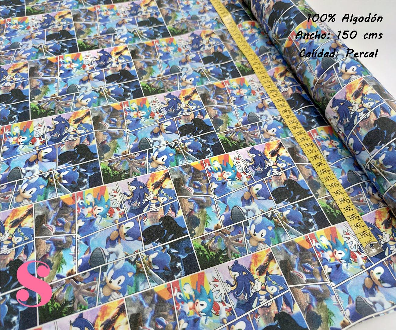 648-sonic-tejidos-algodón-estampado-percal,telas frikis,estampados frikis,Tejido Estampado Sonic