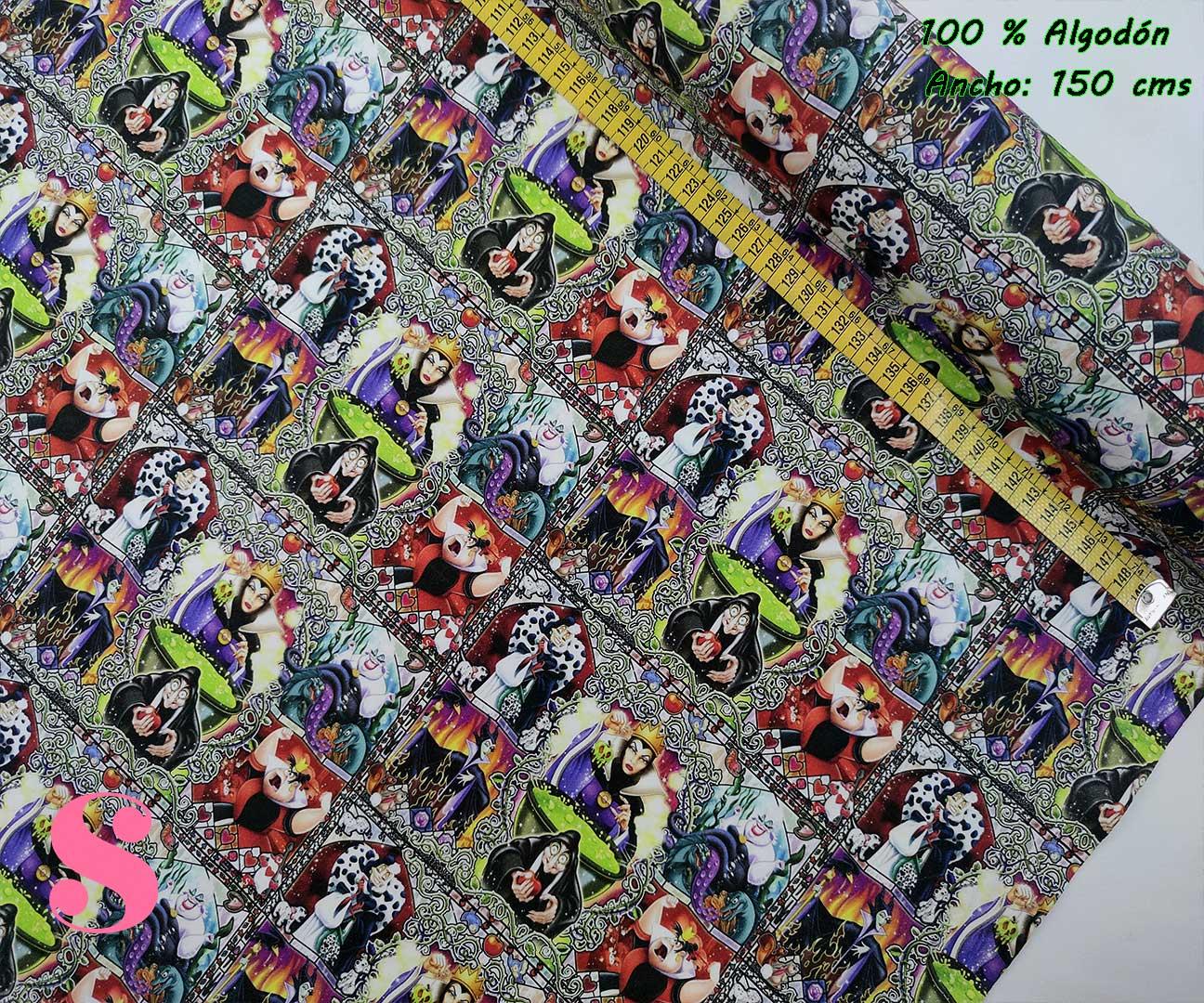 tejidos-estampados-de-algodón,-telas-frikis,telas-estampadas-de-moda,Tejido Estampado Vidriera Villanas Disney