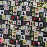 637-cuadros-adornos-navidad-tejidos-algodón-estampado-percal,Tejido Estampado Sellos de Navidad fondo Verde