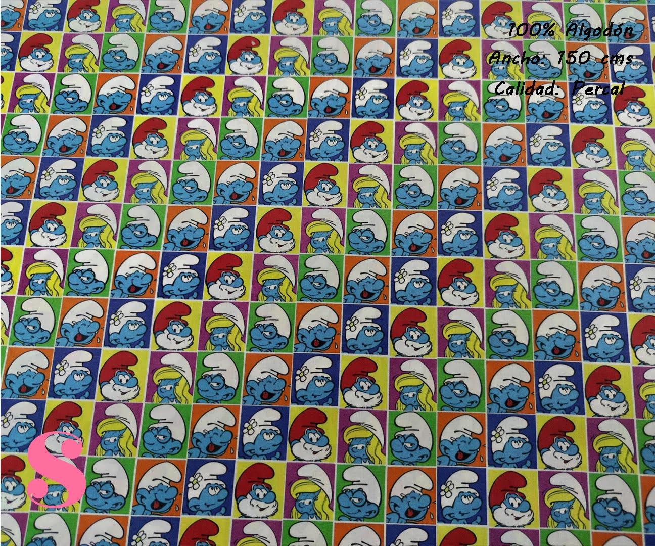 647-los-pitufos-familia-tejidos-algodón-estampado-percal,telas frikis,estampados frikis,tela los pitufos,Tejido Estampado Los Pitufos