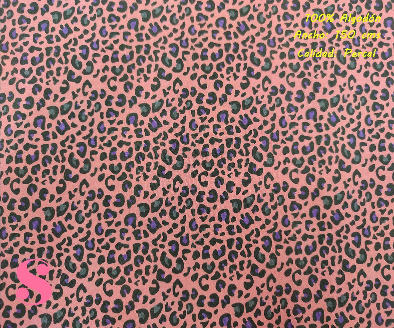 628-manchas-morado-animal-print-leopardo-tejidos-algodón-estampado-percal,Tejido Estampado Animal Print Rosa Mancha Morada,Estampado Leopardo Multicolor