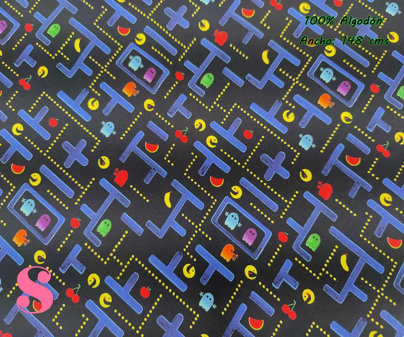 654-telas-frikis,estampados-frikis,tela-fornite,estampado-pac-man,tejidos-estampados-de-algodon,Tejido Estampado Come-Cocos