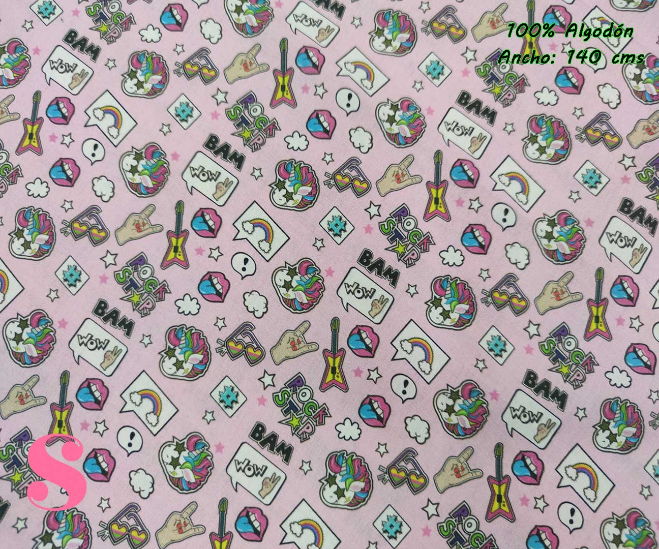 16-telas-frikis,tejidos-estampados,estampados-unicornios,telas-originales,camelot-fabrics,Tejido Estampado Rock Unicorn