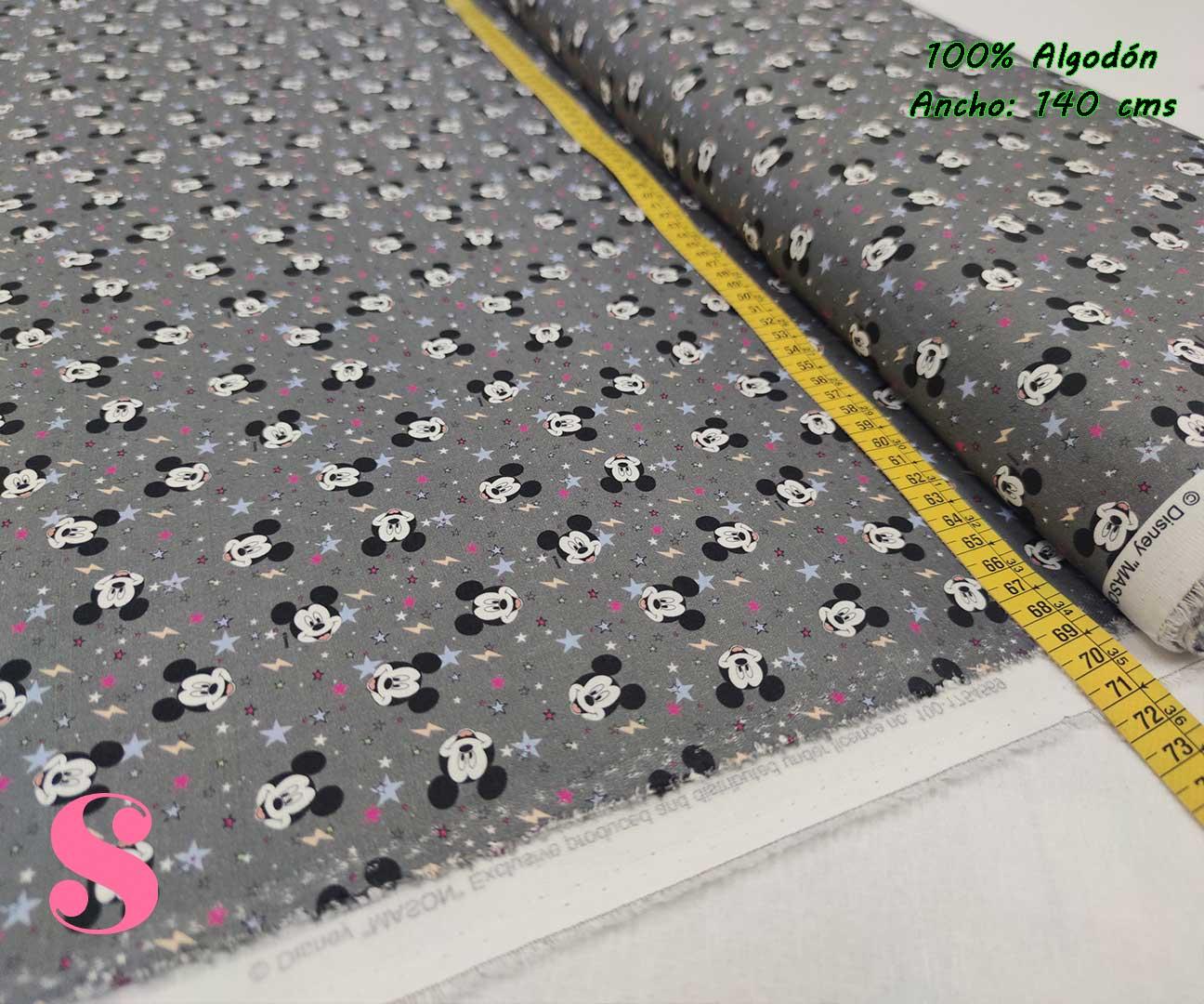21-telas-frikis,tejidos-estampados-disney,estampados-disney,telas-originales,camelot-fabrics,Tejido Estampado Patch Americano Mickey Mouse Estrellitas Fondo Gris
