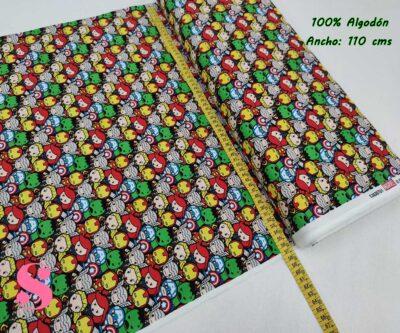 23-telas-marvel-originales,telas-frikis,estampados-frikis,estampados-marvel-originales,Tejido Estampado Patch Americano Mini Vengadores