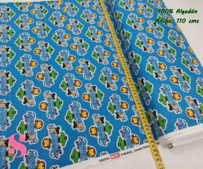 21-telas-marvel-originales,telas-frikis,estampados-frikis,estampados-marvel-originales,Tejido Estampado Patch Americano Mini Super Héroes