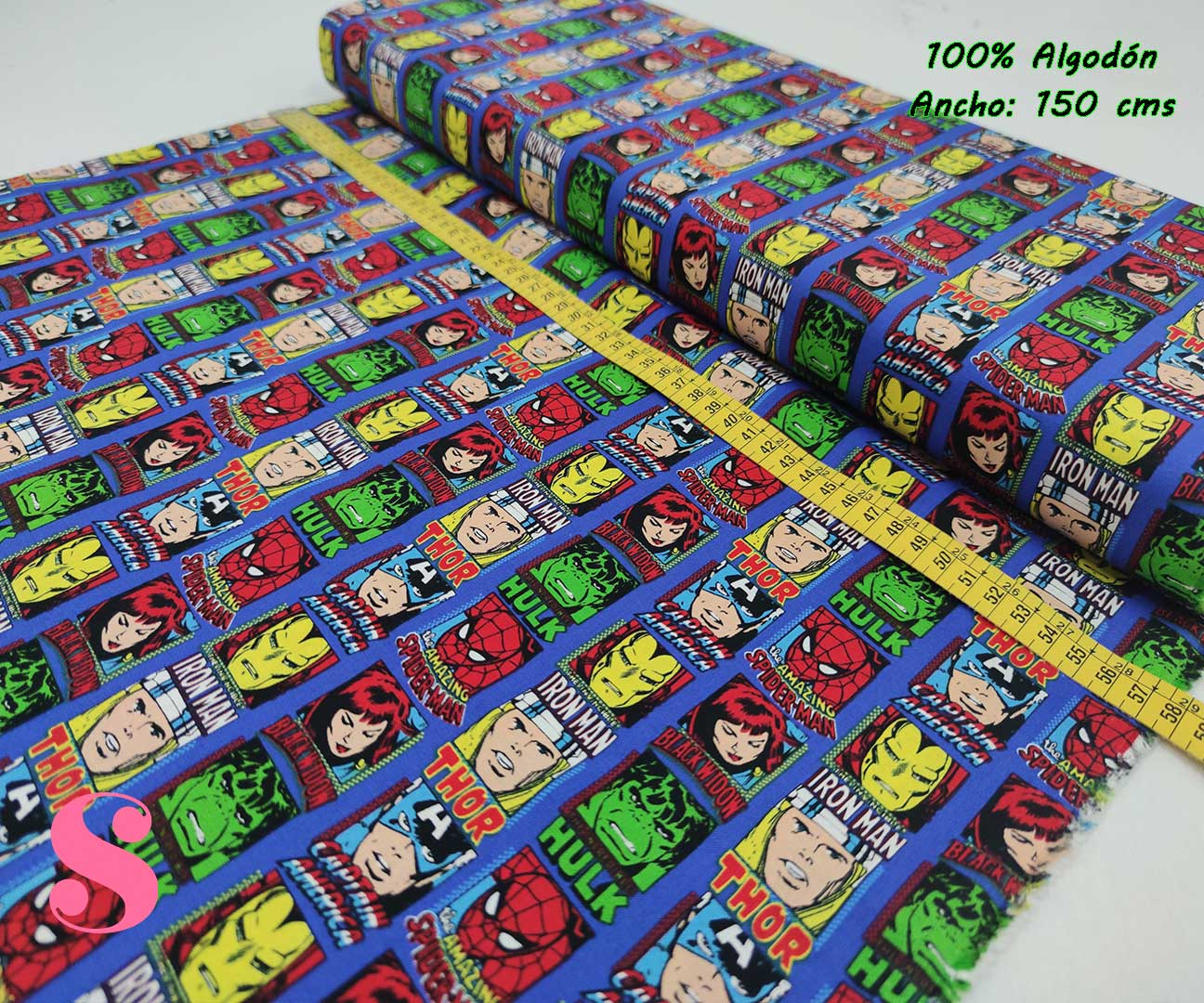 6-telas-frikis,tejidos-estampados-vintage,estampados-frikis,telas-originales,camelot-fabrics,Tejido Estampado Patch Americano Marvel Comic Cuadrados