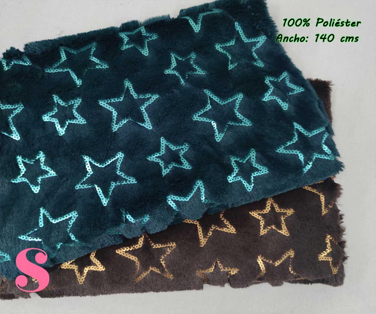 1-tejidos-calentitos,telas-de-invierno,telas-para-hacer-mantas,tejidos-de-pelo,Peluche Stars Doradas