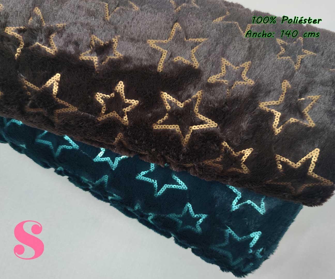 9-tejidos-calentitos,telas-de-invierno,telas-para-hacer-mantas,tejidos-de-pelo,Peluche Stars Turquesa