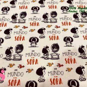 721 Tejido Estampado Mafalda el Mundo es una Sopa