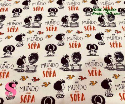 1-telas-estampadas-mafalda,-telas-frikis,-estampados-infantiles,-estampados-retro,Tejido Estampado Mafalda el Mundo es una Sopa