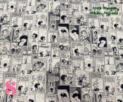 2-telas-estampadas-mafalda,-telas-frikis,-estampados-infantiles,-estampados-retro,Tejido Estampado Mafalda Tebeo