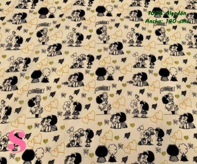 3-telas-estampadas-mafalda,-telas-frikis,-estampados-infantiles,-estampados-retro,Tejido Estampado Mafalda Love