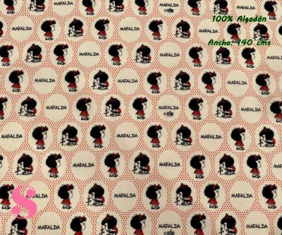 4-telas-estampadas-mafalda,-telas-frikis,-estampados-infantiles,-estampados-retro,Tejido Estampado Mafalda Lunares