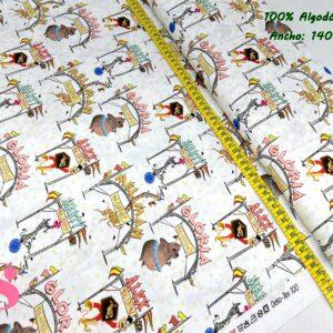 704 Tejido Estampado Madagascar Circus