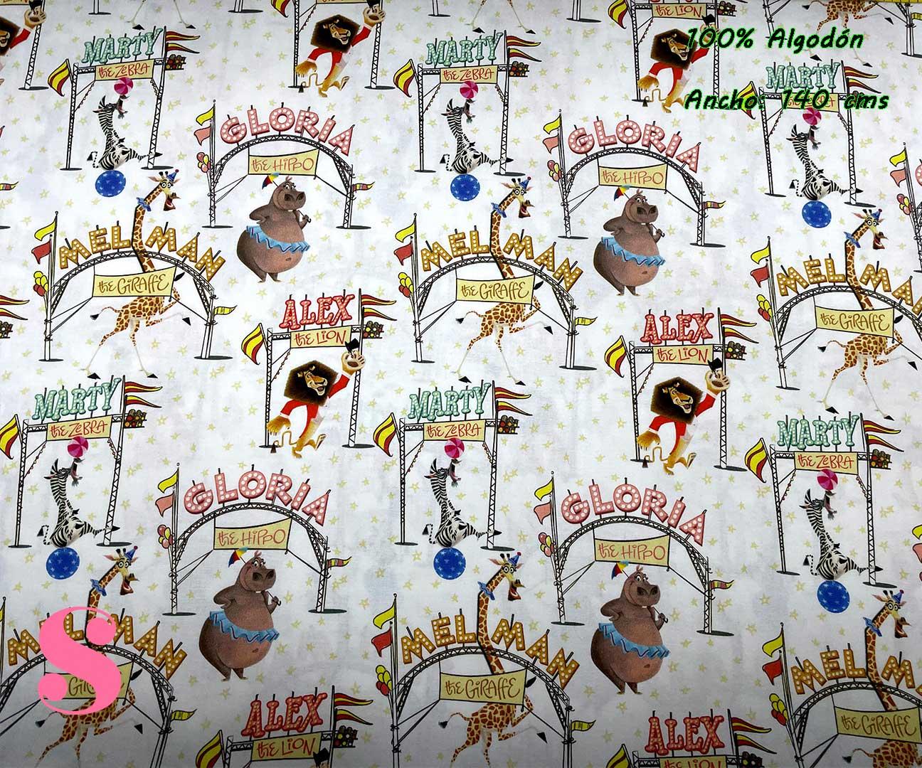 41-tela-estampada-madagascar,telas-dibujos-animados-frikis,telas-infantiles,tejidos-infantiles,Tejido Estampado Madagascar Circus