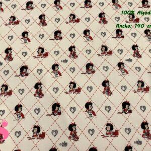 727 Tejido Estampado Mafalda Rombos & Corazones