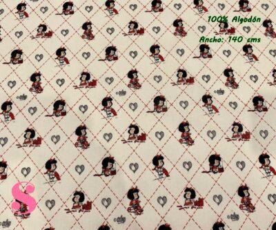 6-telas-estampadas-mafalda,-telas-frikis,-estampados-infantiles,-estampados-retro,Tejido Estampado Mafalda Rombos & Corazones