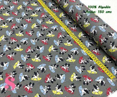 6-telas-frikis,estampados-frikis,telas-perros,tejido-estampado-perro-bull-dog,Tejido Estampado Bulldog Skater