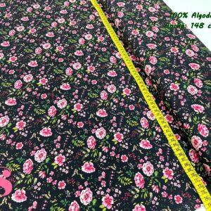 716 Tejido Estampado Rose Flower fondo Negro