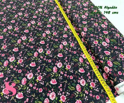 62-tela-estampada-flores,telas-dibujos-primaverales,telas-infantiles,tejidos-infantiles,Tejido Estampado Rose Flower fondo Negro