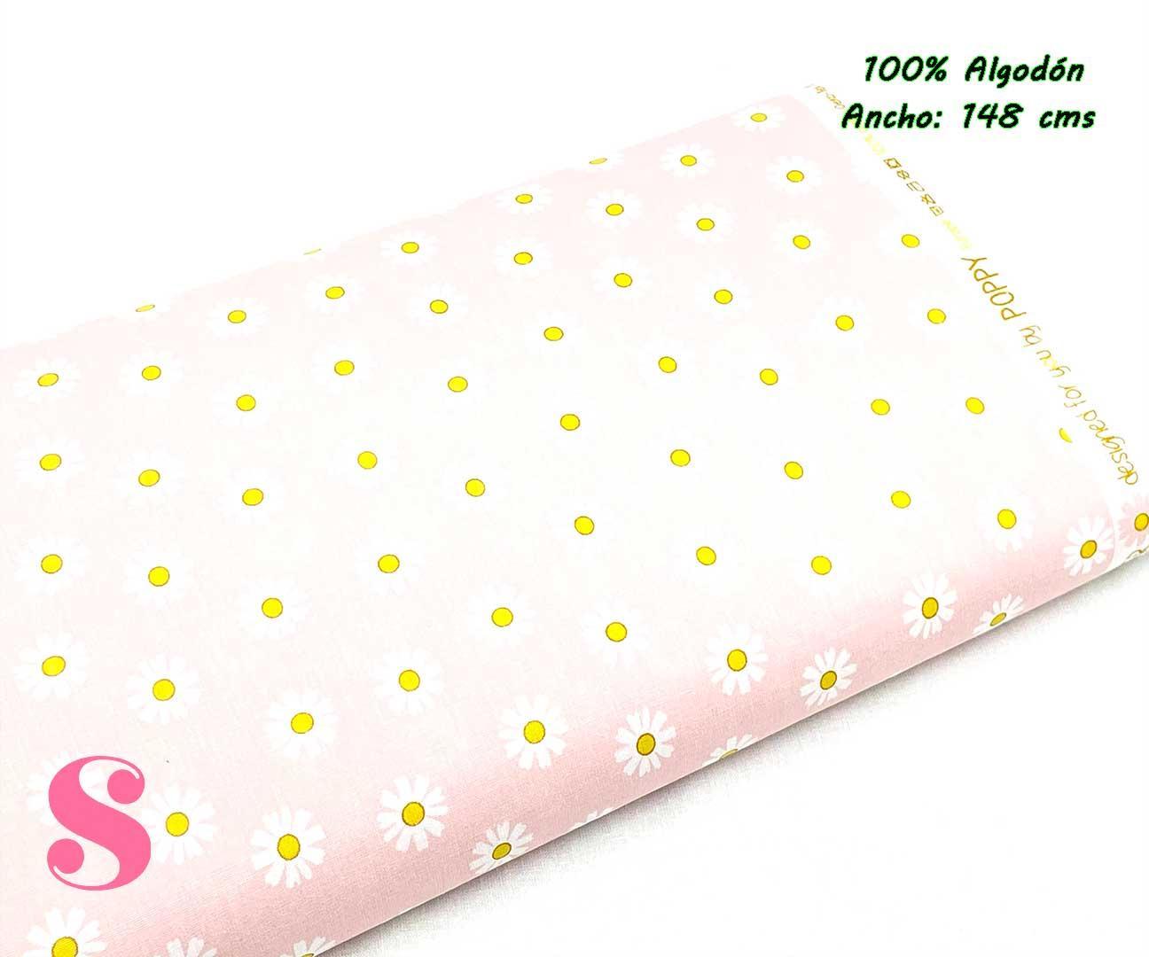 66-tela-estampada-flores,telas-dibujos-primaverales,telas-infantiles,tejidos-infantiles,Tejido Estampado Margaritas fondo Rosa