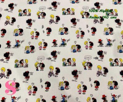 7-telas-estampadas-mafalda,-telas-frikis,-estampados-infantiles,-estampados-retro,Tejido Estampado Mafalda y Amigos