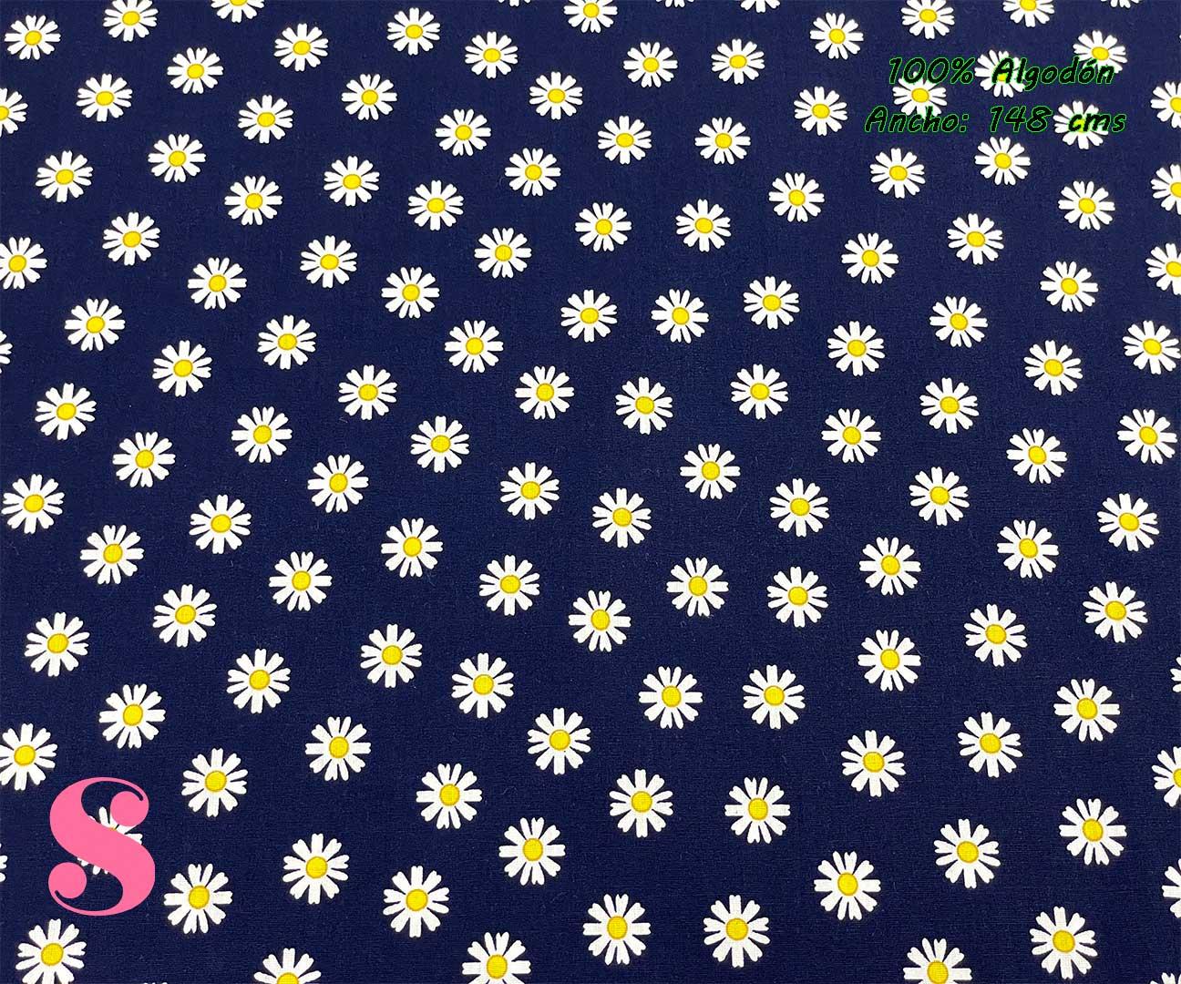 71-tela-estampada-flores,telas-dibujos-primaverales,telas-infantiles,tejidos-infantiles,Tejido Estampado Margaritas fondo Marino
