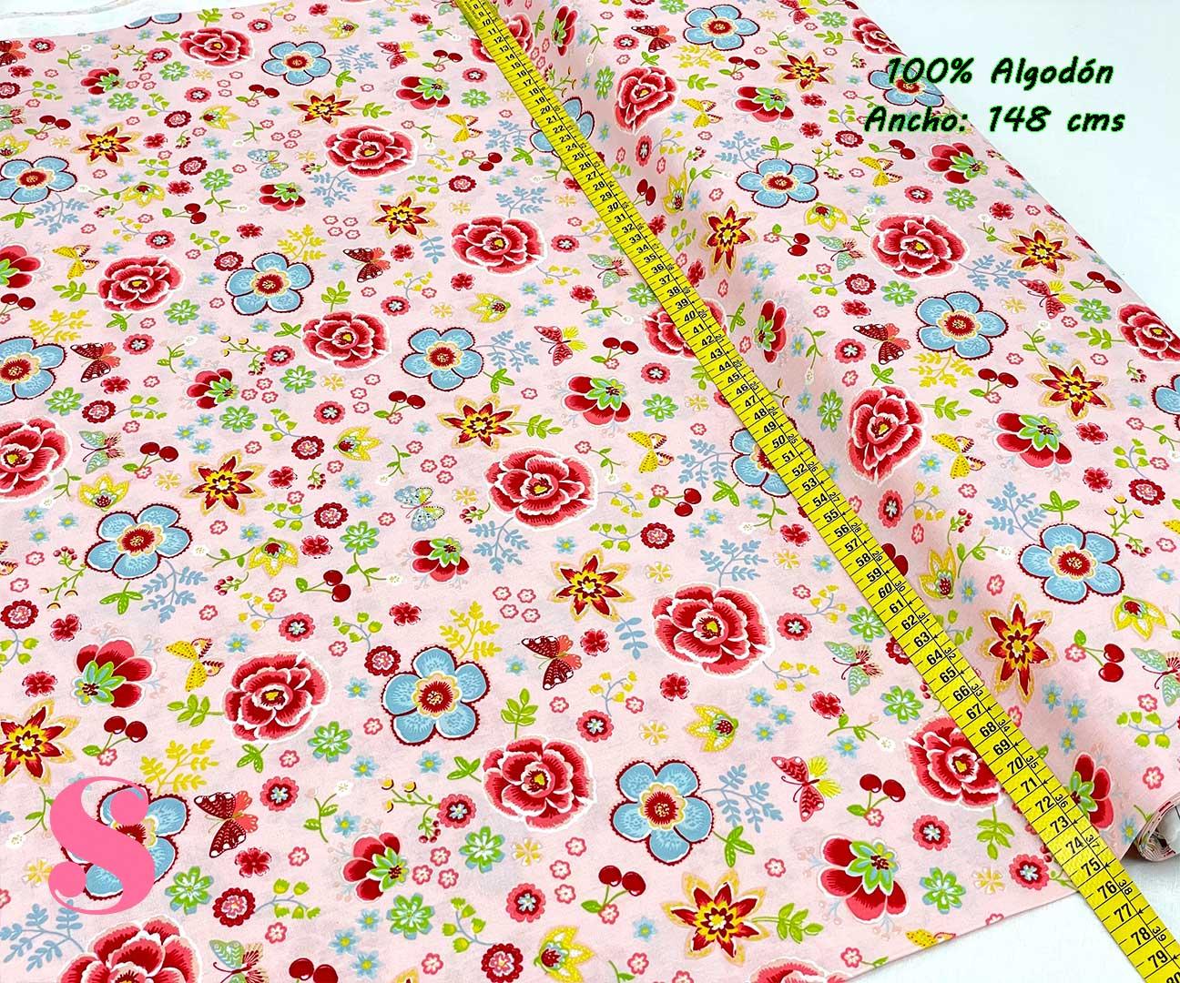 73-tela-estampada-flores,telas-dibujos-primaverales,telas-infantiles,tejidos-infantiles,Tejido Estampado Happy Flowers fondo Rosa