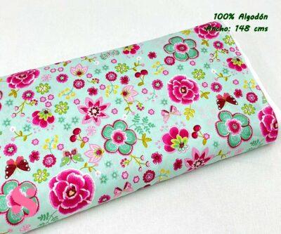 76-tela-estampada-flores,telas-dibujos-primaverales,telas-infantiles,tejidos-infantiles,Tejido Estampado Happy Flowers fondo Menta