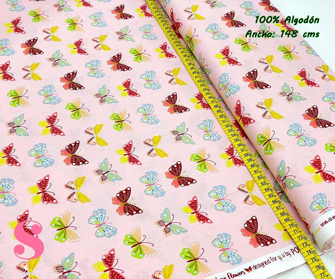 81-tela-estampada-flores,telas-dibujos-primaverales,telas-infantiles,tejidos-infantiles,Tejido Estampado Butterflys fondo Rosa