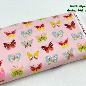719 Tejido Estampado Butterflys fondo Rosa