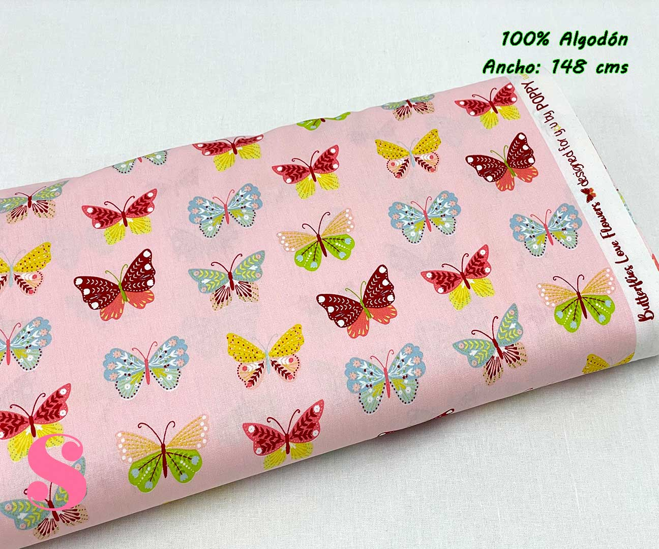 81-tela-estampada-flores,telas-dibujos-primaverales,telas-infantiles,tejidos-infantiles,Tejido Estampado Butterflys fondo Rosa,Tejido Estampado Butterflys fondo Menta