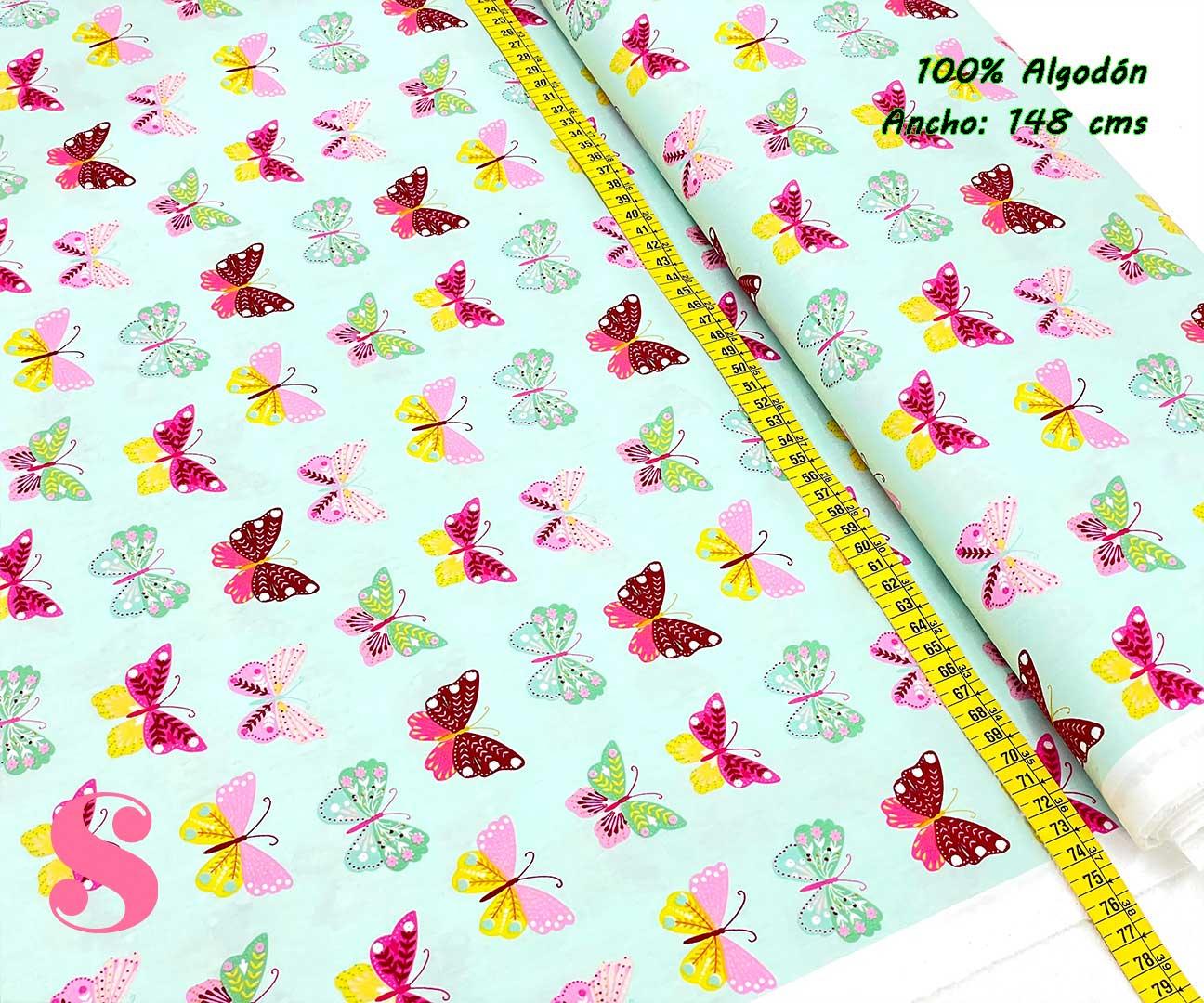 82-tela-estampada-flores,telas-dibujos-primaverales,telas-infantiles,tejidos-infantiles,Tejido Estampado Butterflys fondo Menta