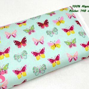 720 Tejido Estampado Butterflys fondo Menta
