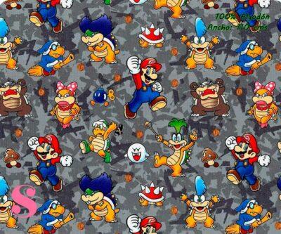 1-estampados-originales,telas-con-estampados-originales,telas-frikis,estampados-frikis,telas-super-mario,Tejido Estampado Patch Americano Villanos Super Mario
