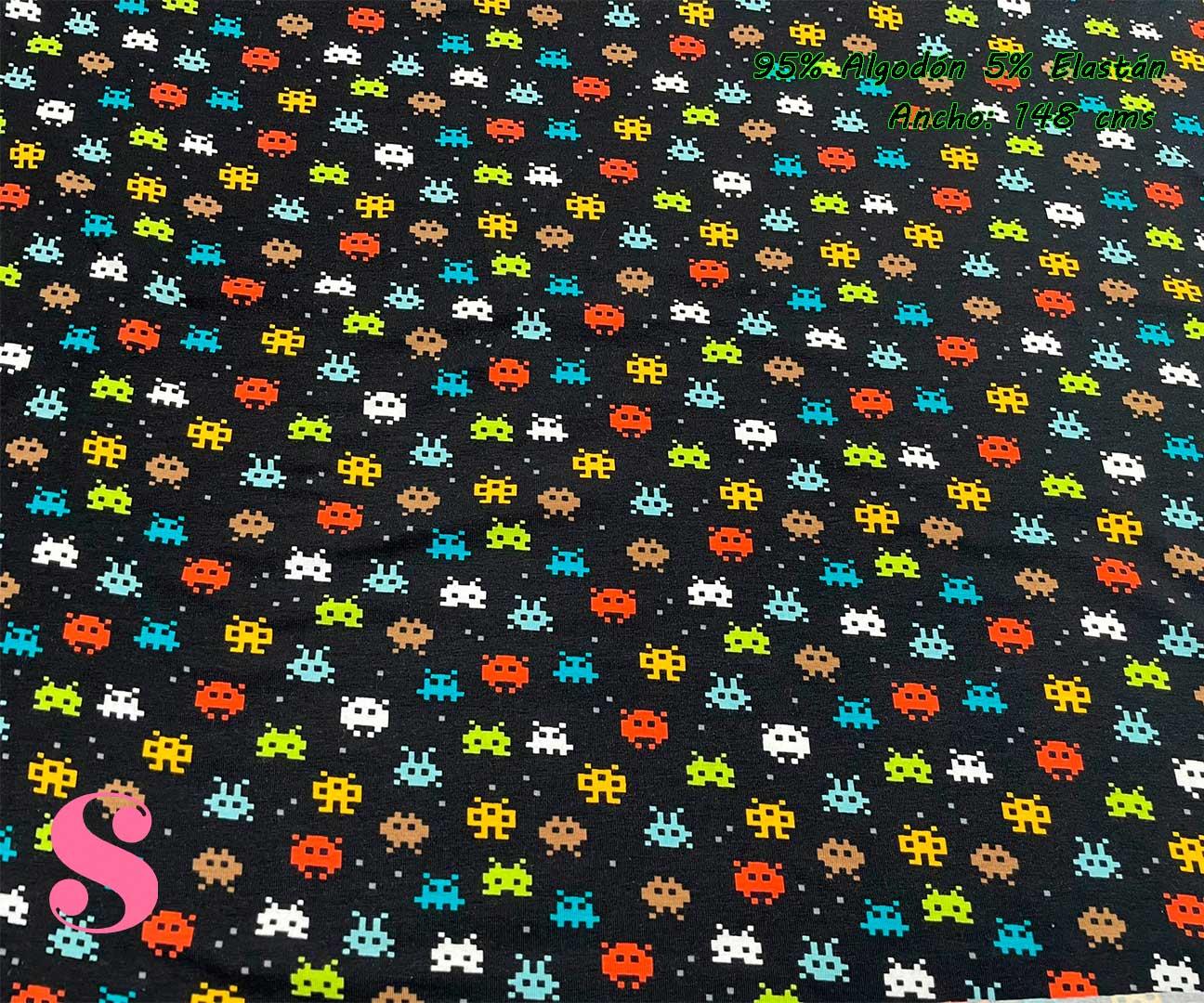1-telas-de-punto-por-metros,telas-jersey-por-metros,punto-estampado-por-metros,telas-frikis,Punto Camiseta Jersey Estampado Marcianitos Galaxian