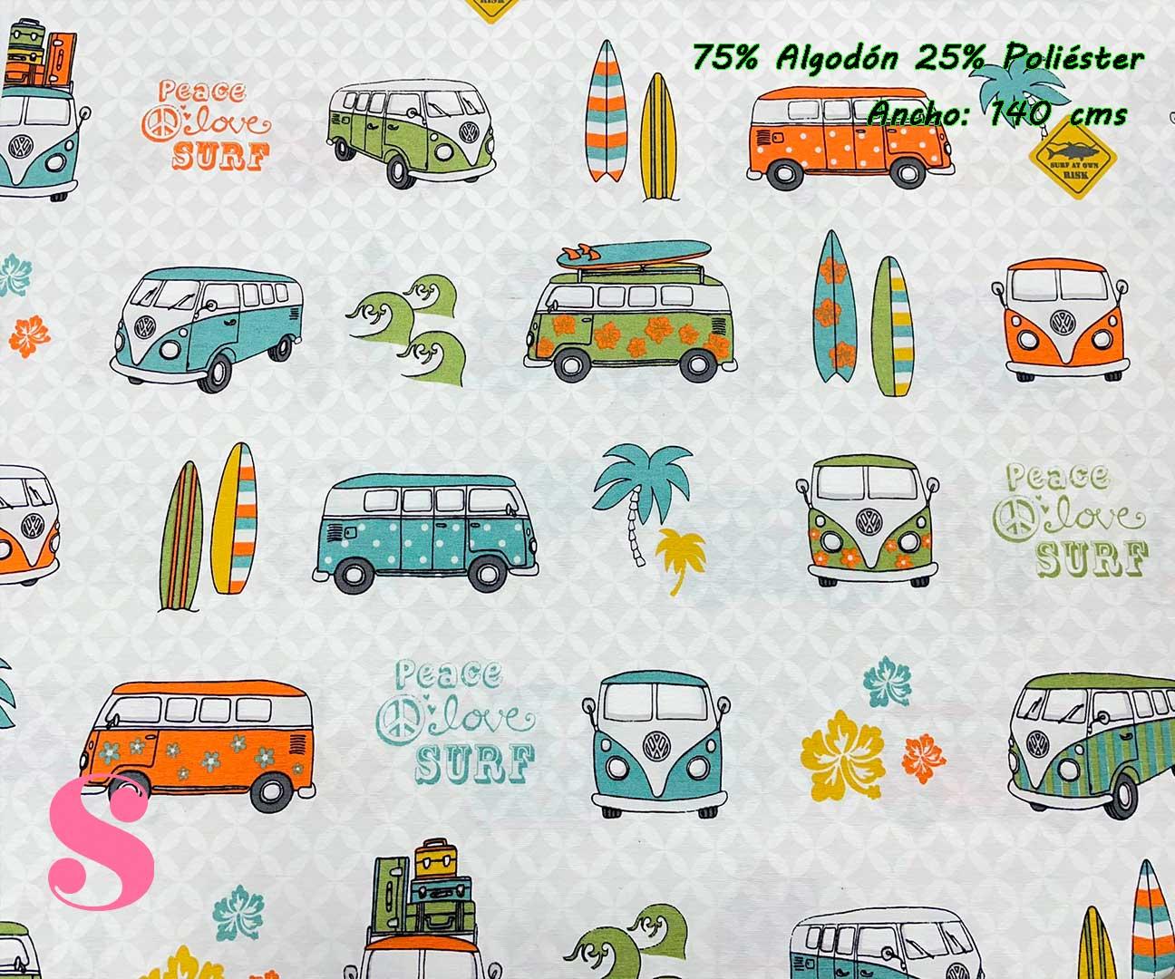 1-telas-de-verano,-telas-de-exterior,-telas-de-loneta-por-metros,-telas-duras,-telas-de-amor-con-alma,telas-con-alma-y-amor,Loneta Estampada Wolkswagen Peace Love Surf,Half Panamá Wolkswagen Peace Love Surf