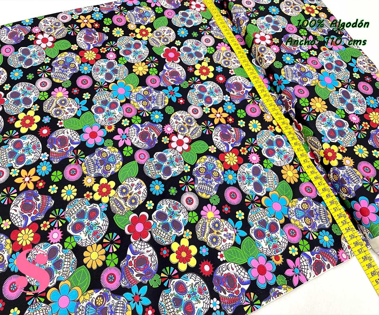 3-telas-estampadas-calaveras,tela-estampado-catrinas,telas-calaveras-mejicanas-de-algodón,telas-de-moda,Patch Americano Rose & Hubble Calavera Mejicana